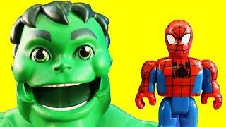 Spider-man & Friends Play At Playground + Hulk Teaches Hulk Friend And Builds Slide