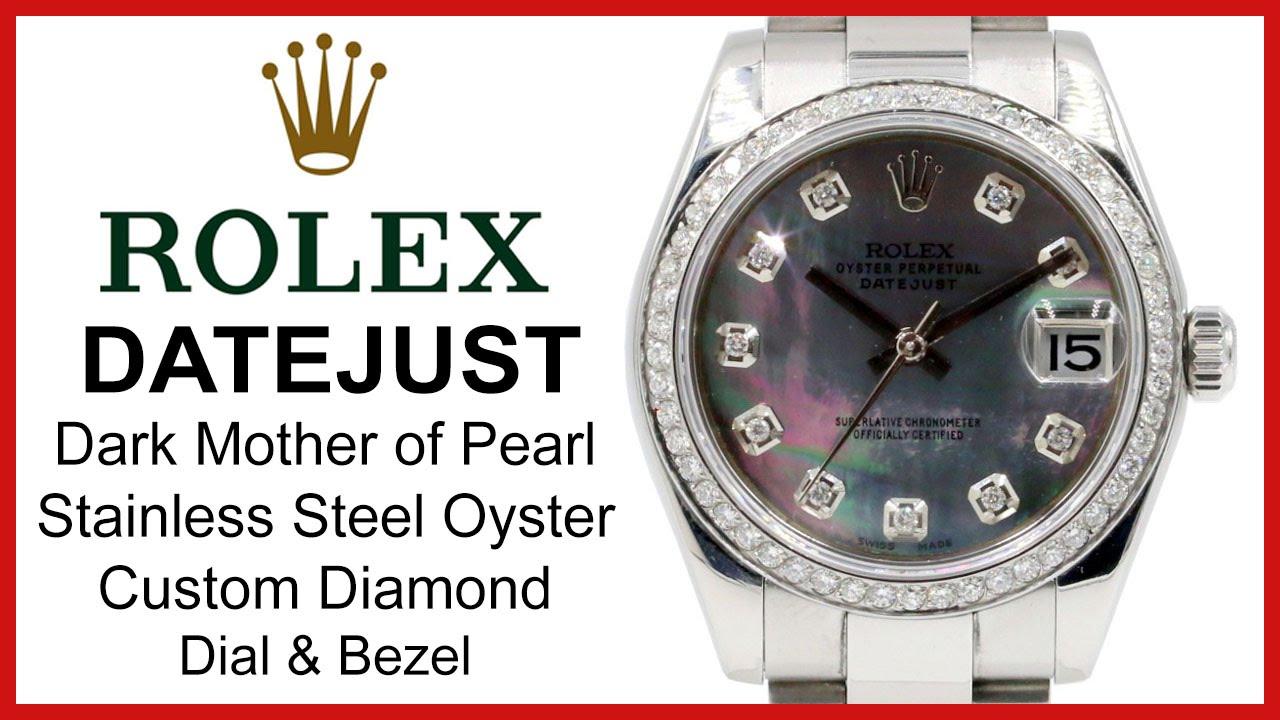 5e95f228284a Rolex Datejust 31 Ladies Midsize, Dark Mother of Pearl REVIEW - Custom  Diamond, 178240