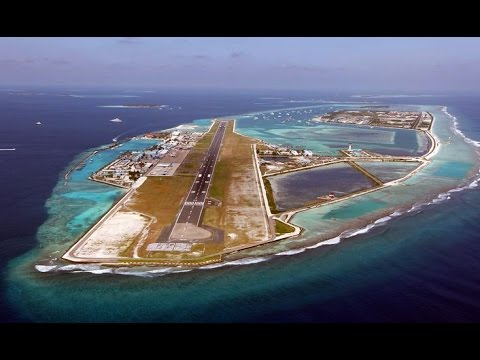 Landing in Male Airport, Maldives - Aerial View of Maldives