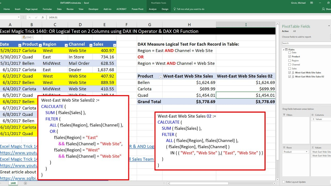 Excel Magic Trick 1440: OR Logical Test on 2 Columns using DAX IN Operator  & DAX OR Function