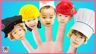 Learn Colors with Finger Family Song Pretend Play for Kids Children Nursery Rhymes 경찰 소방관 직업체험 놀이