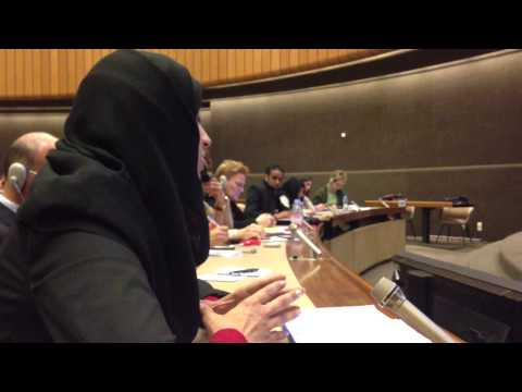 Bushra Al Hendi from Bahrain addresses the UN High Commissioner on Human Rights