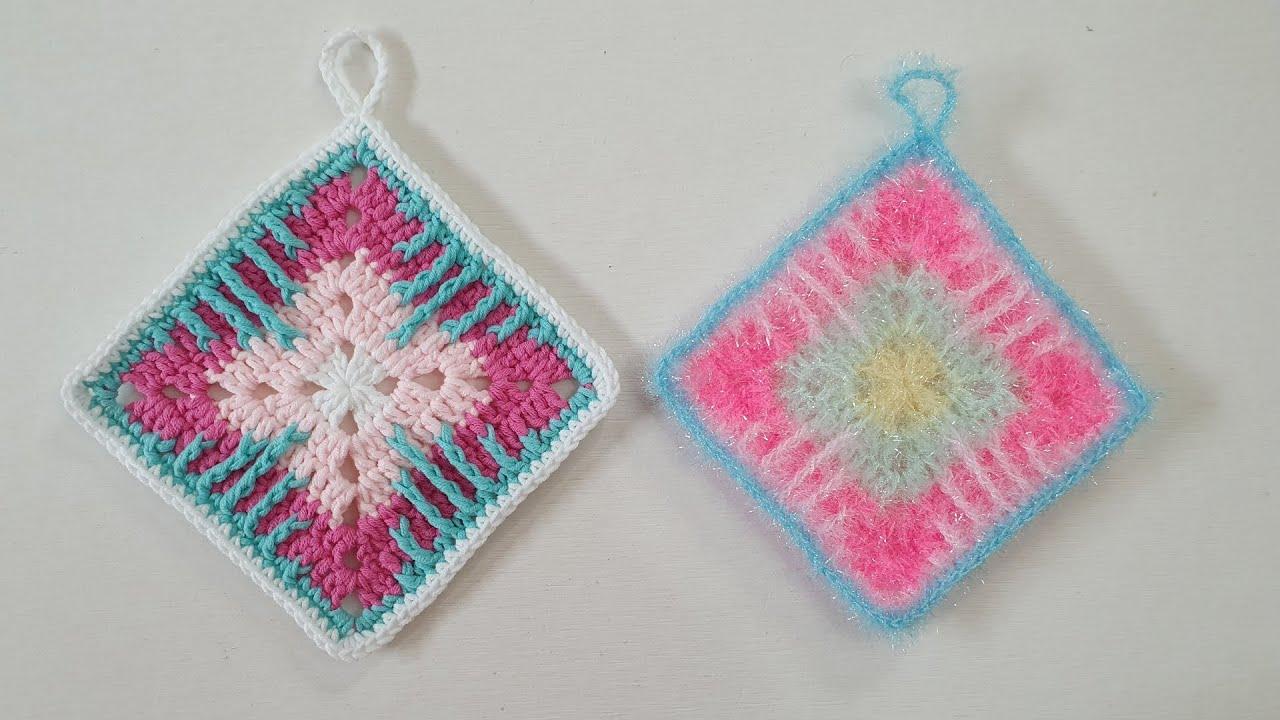 코바늘 수세미/  줄무늬사각 수세미  Crochet  dish scrubby