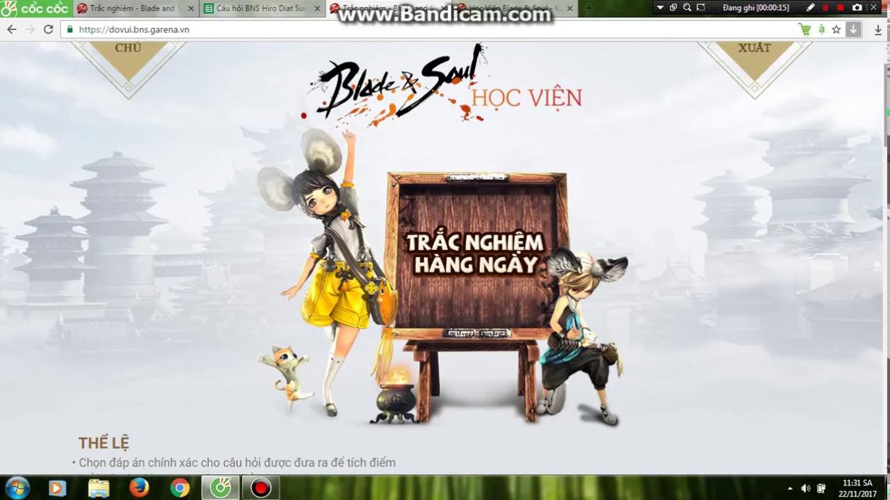 Lời giải trắc nghiệm hàng ngày Blade and Soul (Hiro Diat)