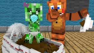 FNAF Monster School: Baby Creeper! - Minecraft Animation