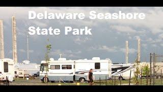 Delaware Seashore State Pąrk RV Camping Rain Sun Beach and Happy Children