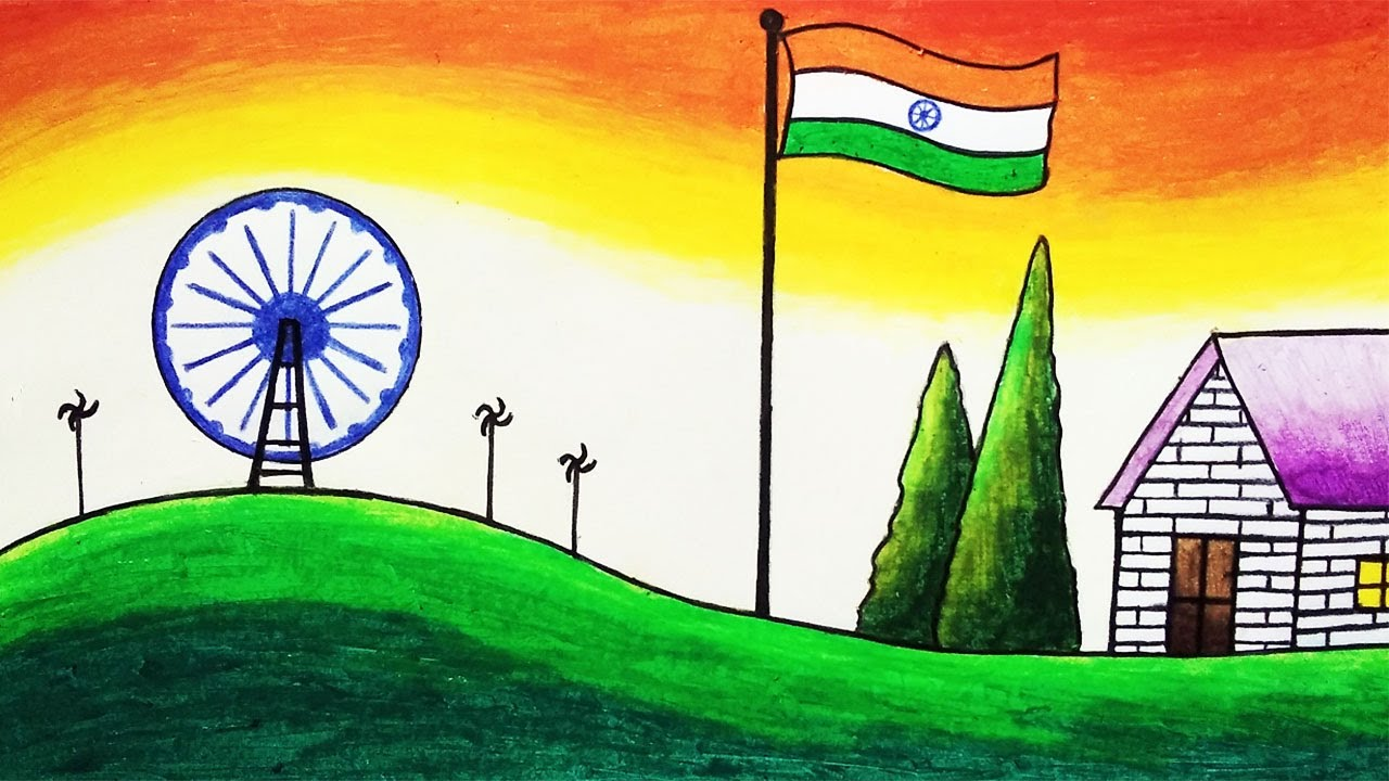 How to Draw Easy Scenery of Independence Day Step by Step | Independence Day Drawing for Beginners