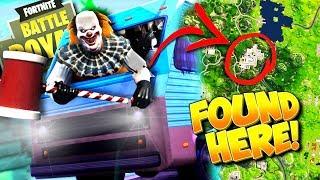 CREEPY CLOWN FINALLY FOUND HIDING in Fortnite Caravan: Battle Royale!