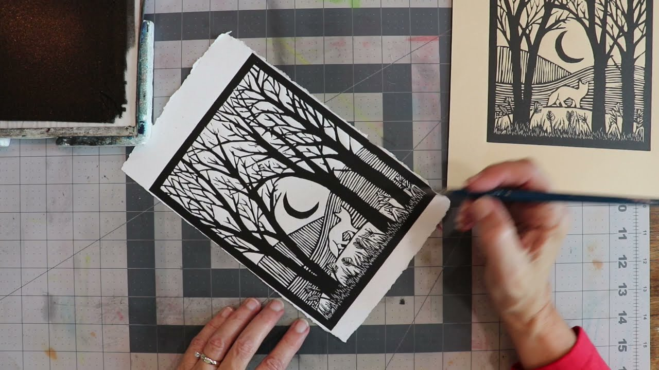 Printing the Little Red Fox Lino Cut - Relief Printing Demo