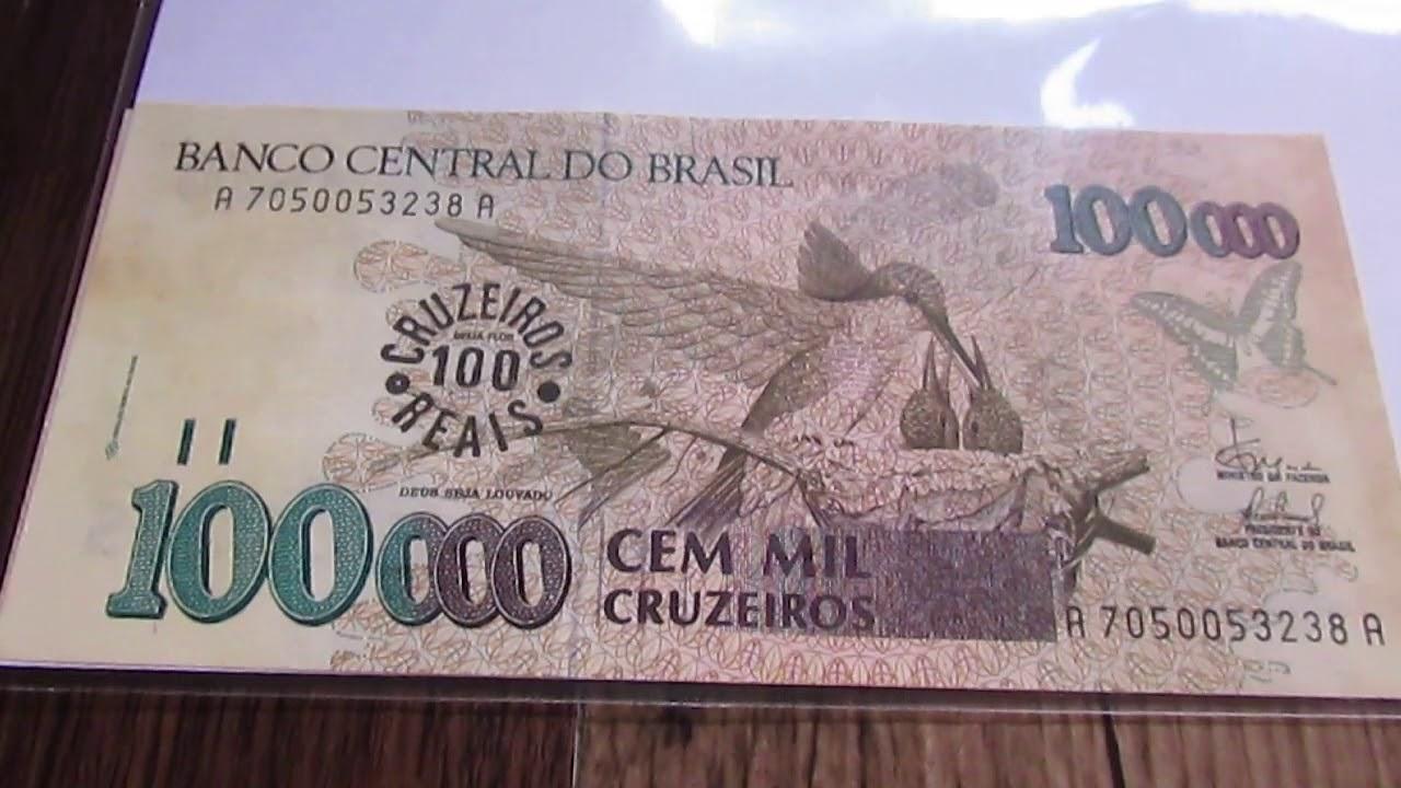 Cedula De 100 Mil Cruzeiros Brasil 1993 Beija Flor Com Carimbo De