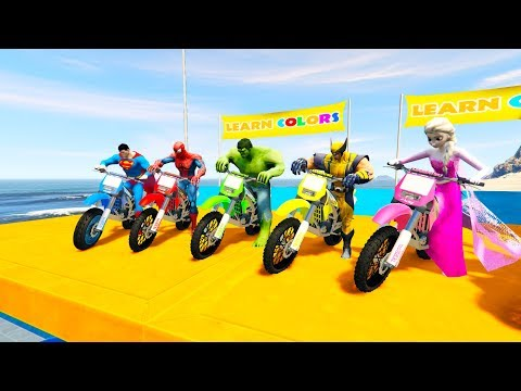 Thumbnail: LEARN COLOR DIRT BIKES with Superheroes jump 3D Cartoon for kids and babies