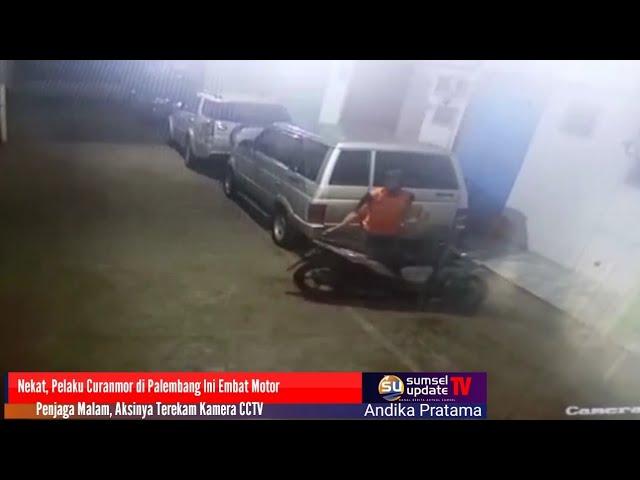 Nekat, Pelaku Curanmor di Palembang Ini Embat Motor Penjaga Malam, Aksinya Terekam Kamera CCTV