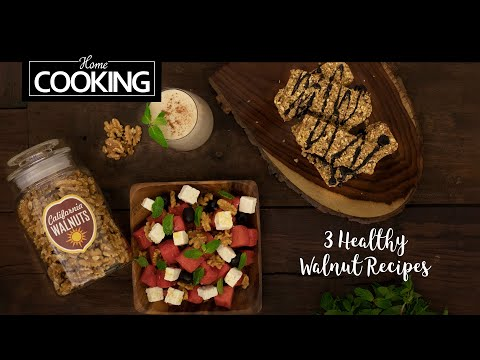 3 Healthy Walnut Recipes | Walnut Granola Bars | Watermelon Walnut Salad | Walnut Banana Milkshake