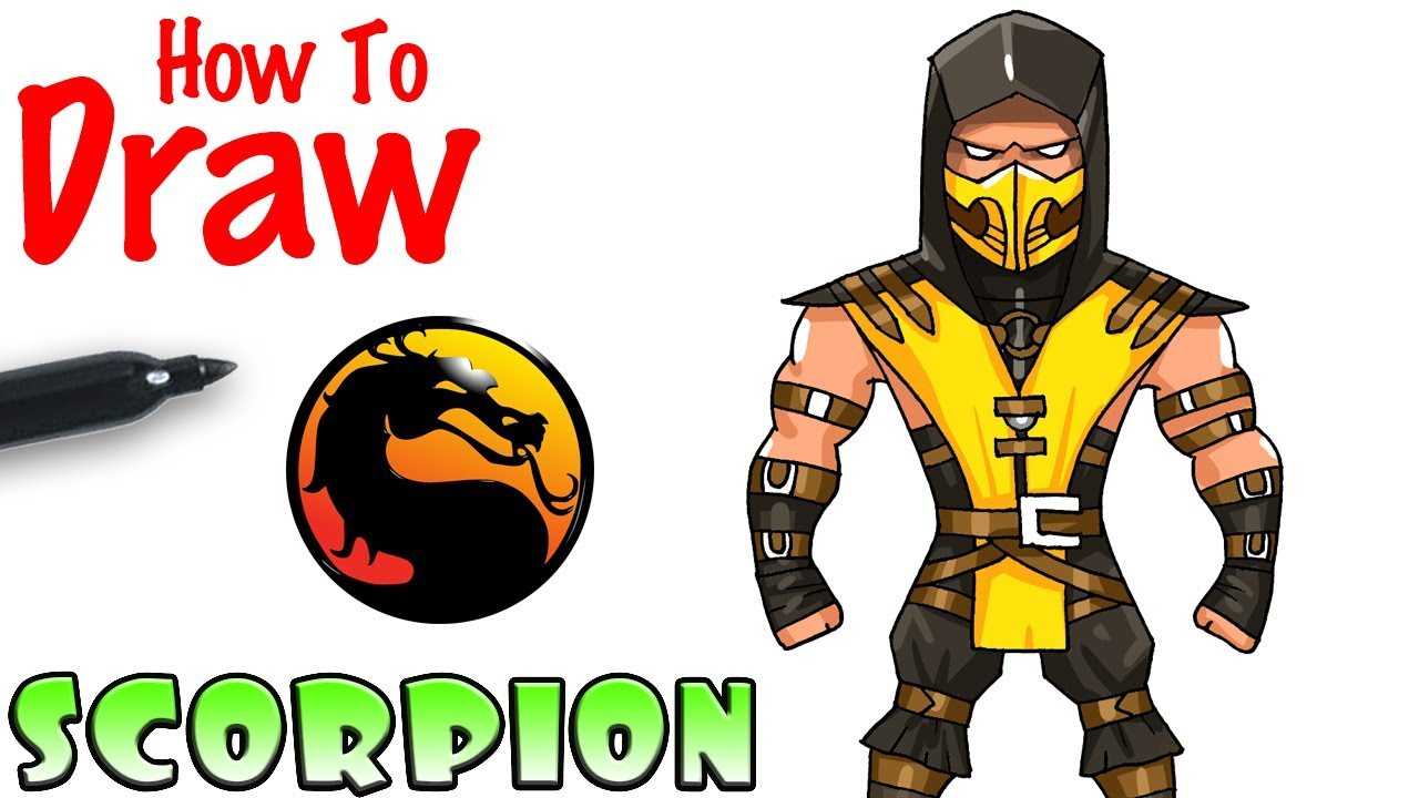 How To Draw Scorpion Mortal Kombat Youtube