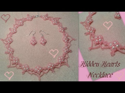 Hidden Hearts Necklace Beading Tutorial by HoneyBeads1 (Valentine's or prom necklace with pearls)