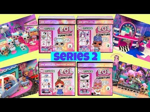 LOL Surprise Furniture Set Series 2 Complete Set of 4 Unboxing Kids Toys LOL Dolls