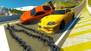 Giant Chain Crashes High Speed Car Jump BeamNG.drive