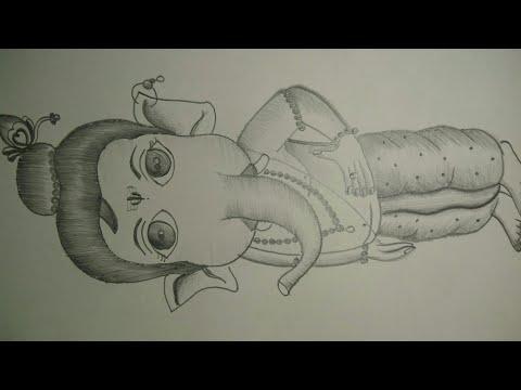 Pencil sketch of balganesha