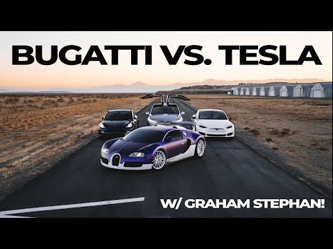 Bugatti Races the FASTEST Tesla in the World!  Model S p100D, Model X, Model 3 Performance.