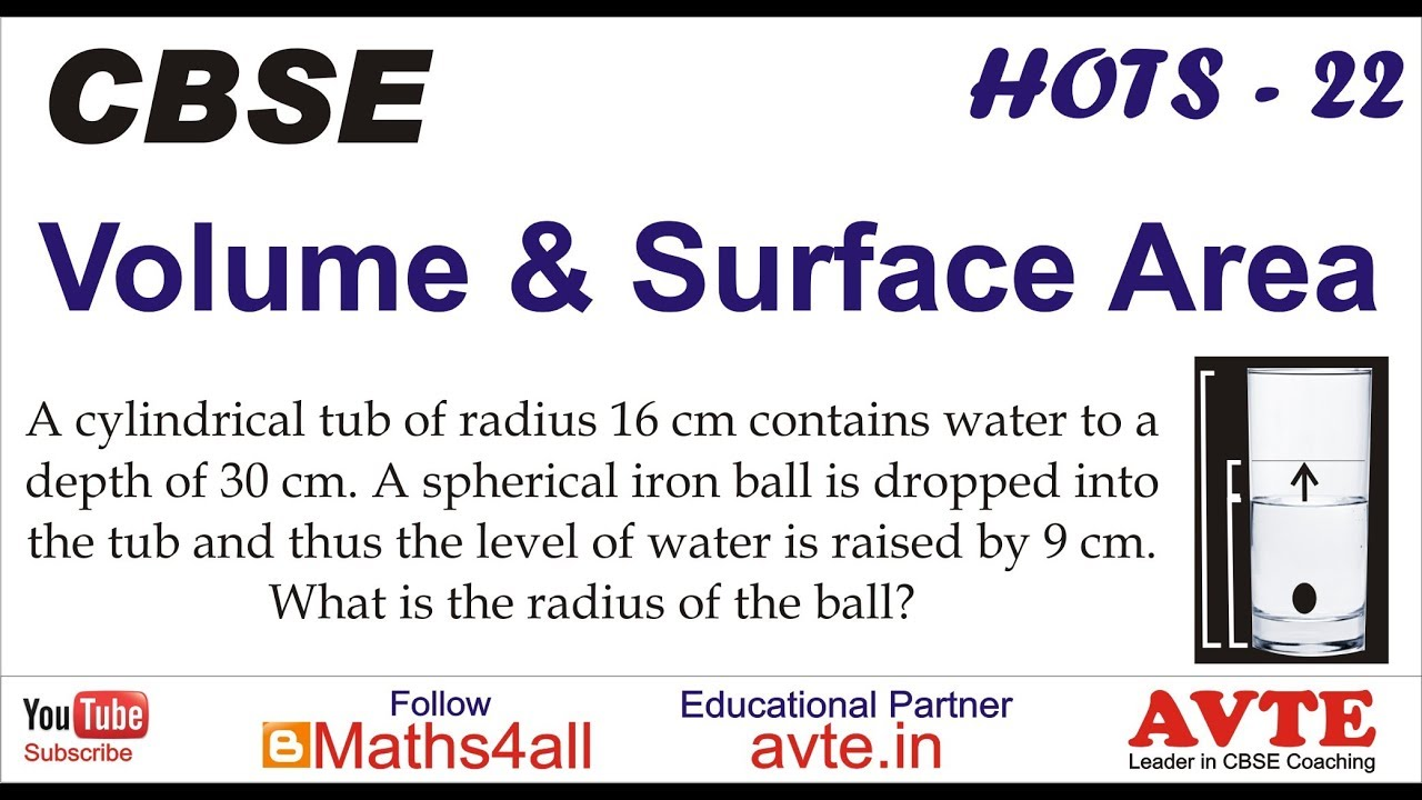 9 To Cm A Cylindrical Tub Of Radius 16 Cm Contains Water To A Volume Surface Area Hots 23