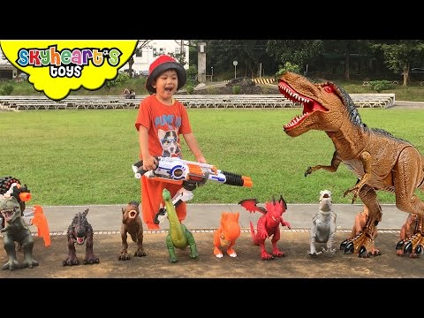 Thumbnail: DINOSAURS vs Toddler NERF WAR | Mighty Megasaur dinosaur toys for kids with Nerf Rhino Fire