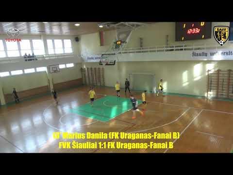 """ŠA salės futbolo pirmenybės: FVK """"Šiauliai"""" 2:2 FK """"Uraganas""""-""""Fanai B"""" (įvarčiai)"""
