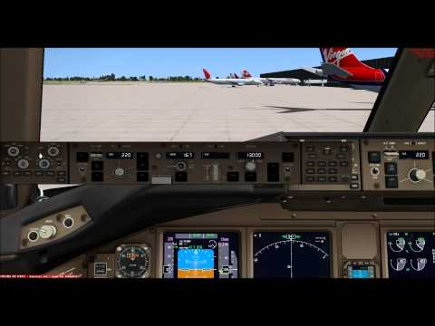 FSX - PMDG 777 Start up, Taxi and Take off at Shanghai-Pudong