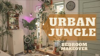 URBAN JUNGLE style in my tiny bedroom | MAKEOVER ideas + time lapse ( 2020 )