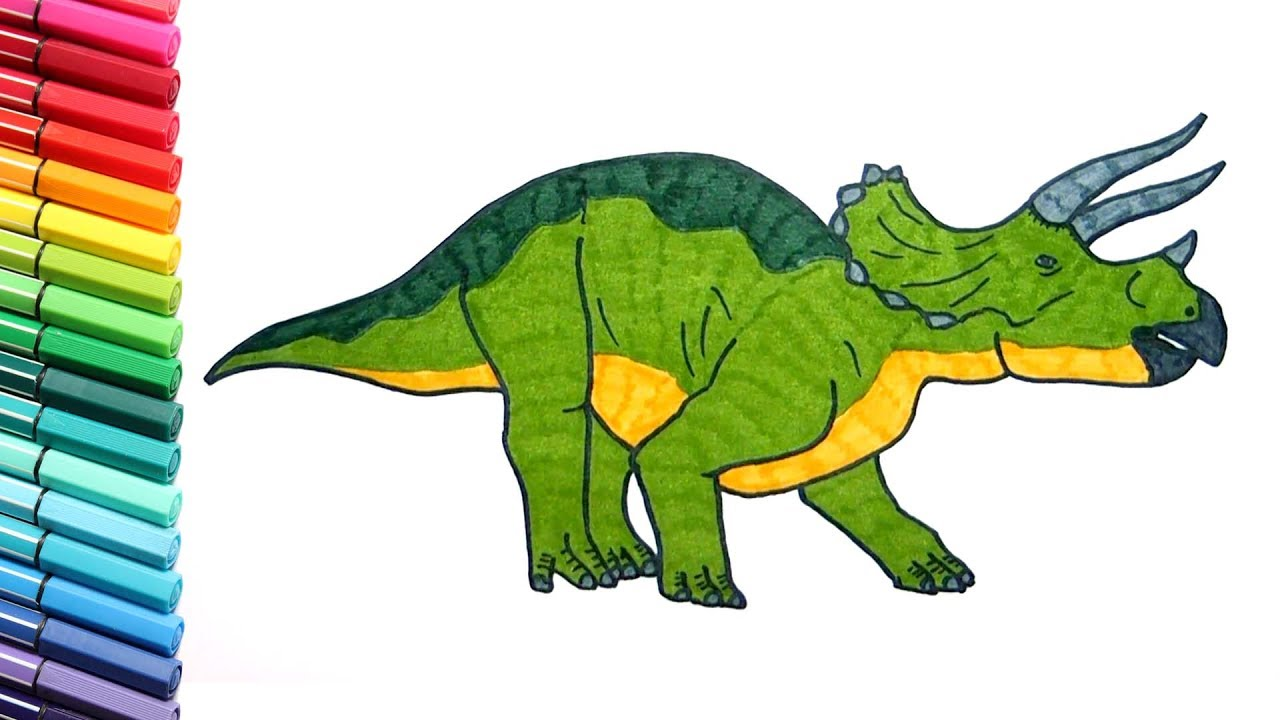 How to Draw a Dinosaur Triceratops - Coloring Pages for Kids to ...