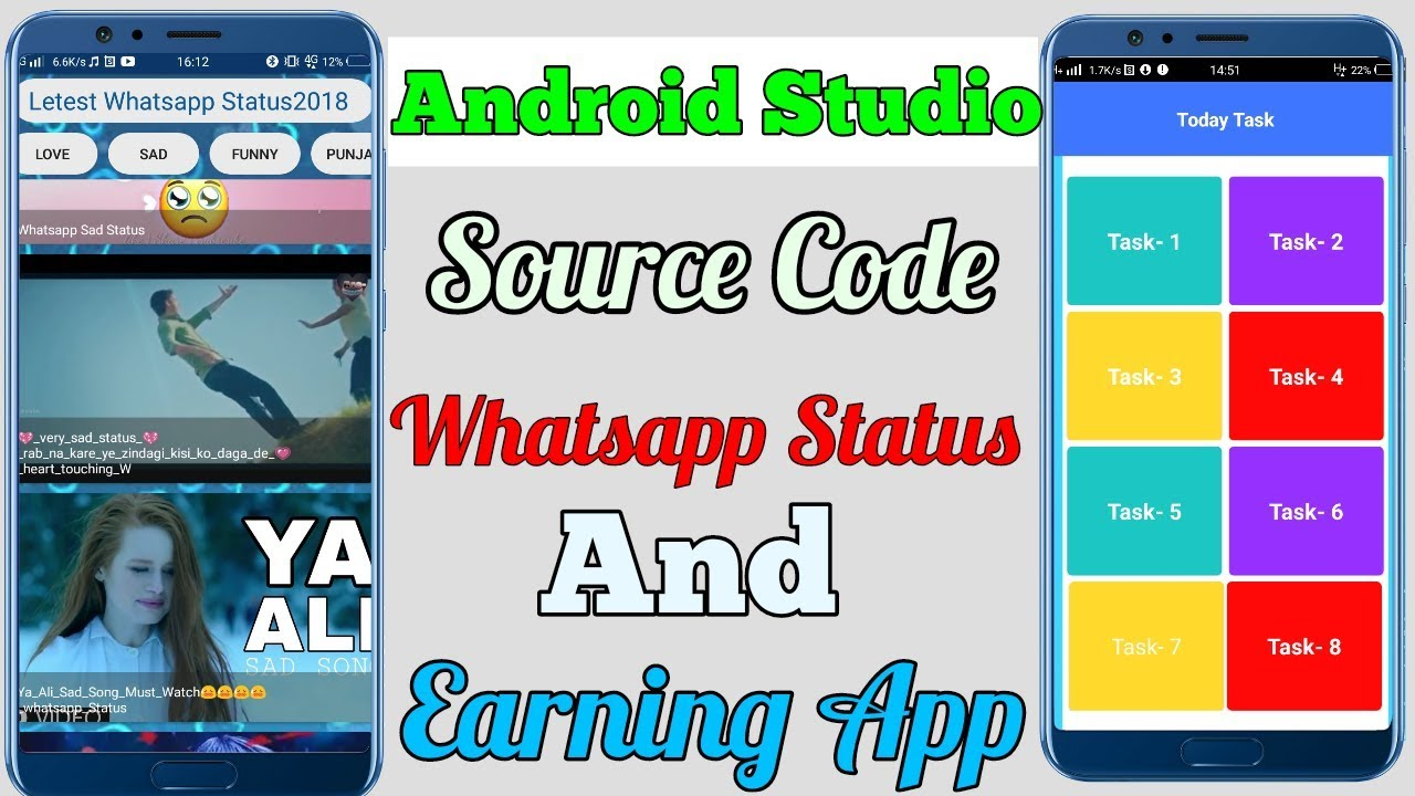 New Whatsapp Status App And Earning App Source Code Android Studio Appybuilder Thunkable Aia