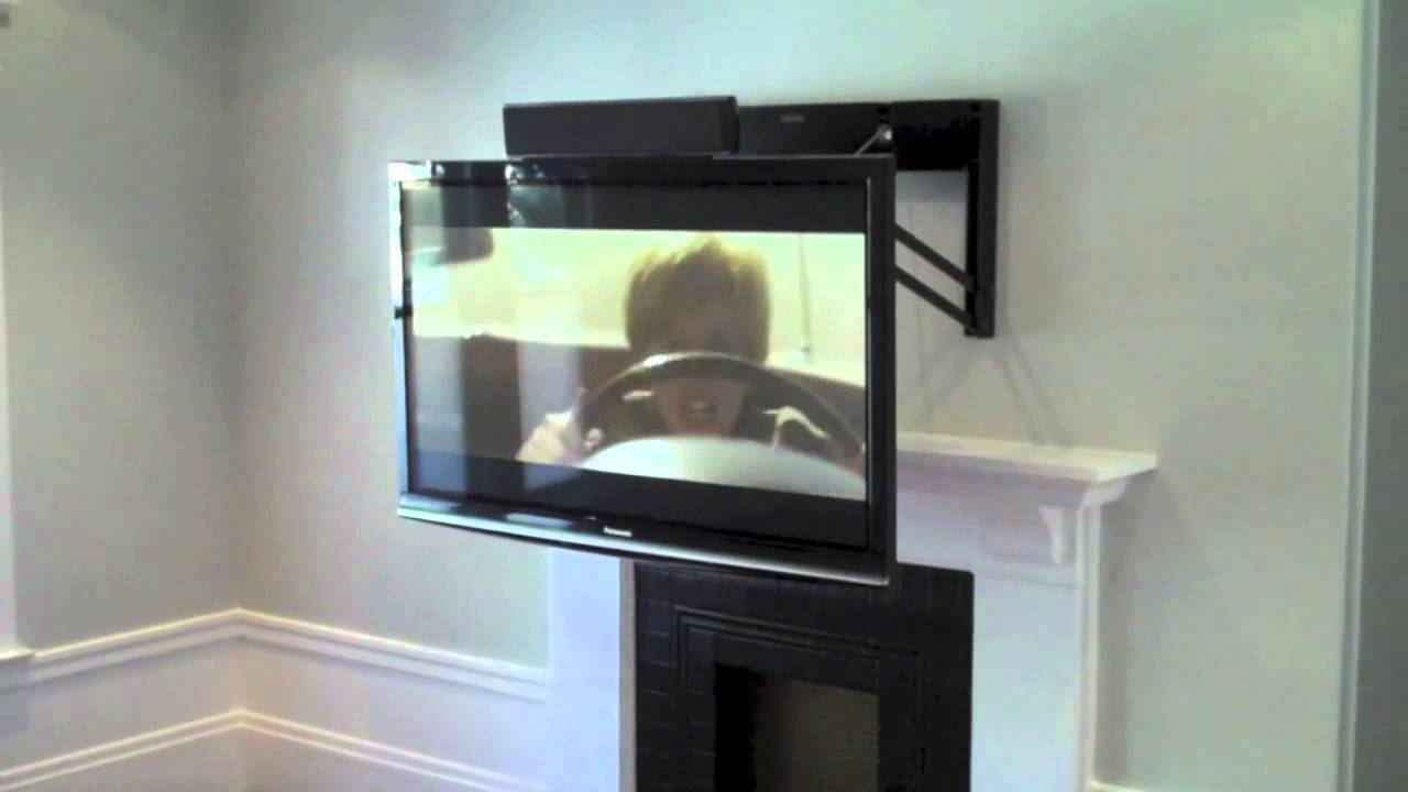 comfortvu above the fireplace tv mount youtube. Black Bedroom Furniture Sets. Home Design Ideas