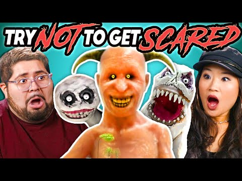 College Kids React To Try Not To Get Scared Challenge (Scary Animations)