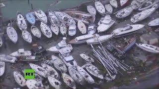 Imágenes aéreas de la isla de San Martín arrasada por el huracán Irma