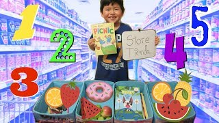 FUN PRETEND PLAY STORE SHOPPING | NUMBERS IN ENGLISH AND SPANISH | LEARN WITH ADRIAN