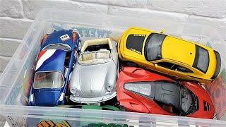 Box full of cars Welly Kinsmart Burago Video for kids