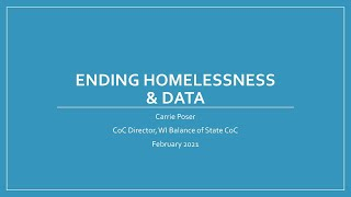 Ending Homelessness in Brown County - WIBOSCOC presentation - February 10, 2021