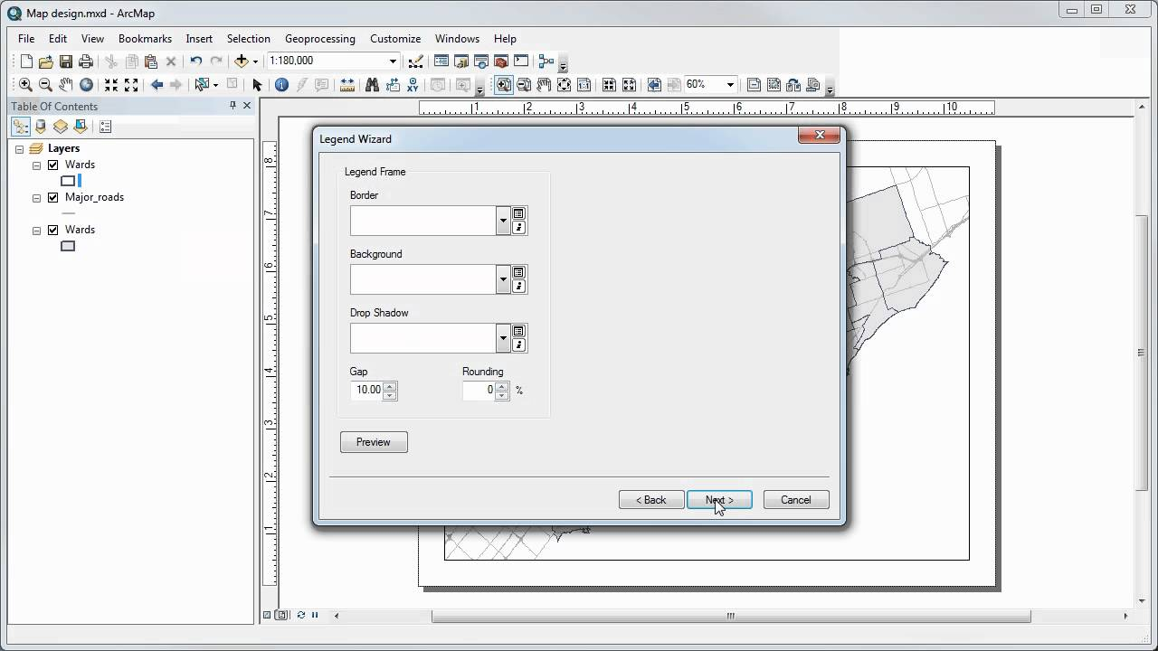 Adding and customizing a legend in ArcMap