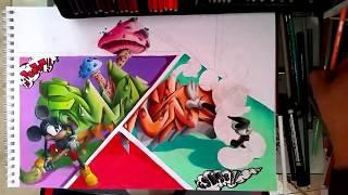 Graffiti en 3D con carcter de Mickey Mouse (Comicky)/3D graffiti with mickey mouse character