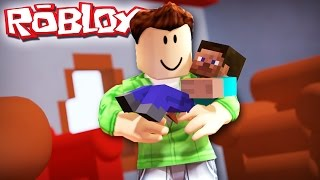 ADOPTING MINECRAFT STEVE IN ROBLOX!?