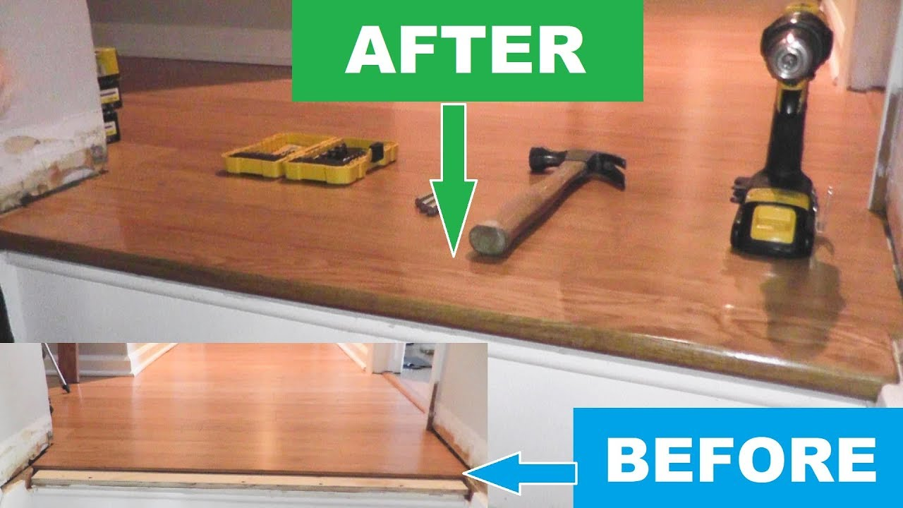 Stair Nosing Install Over Bamboo Or Laminate Wood Youtube | Installing Engineered Hardwood On Stairs | Laminate Flooring | Carpet | Edge Engineered | Nail Head | Dark Walnut