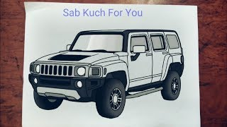 #1 How to Draw SUV (Car)  Hummer H3  Step by step easily 😊