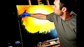 Painting flaming tree and fire birds with acrylic paint and round brush on large canvas