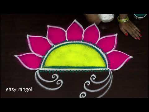 Sankranthi muggulu designs 2018 - creative pongal kolam designs with colors