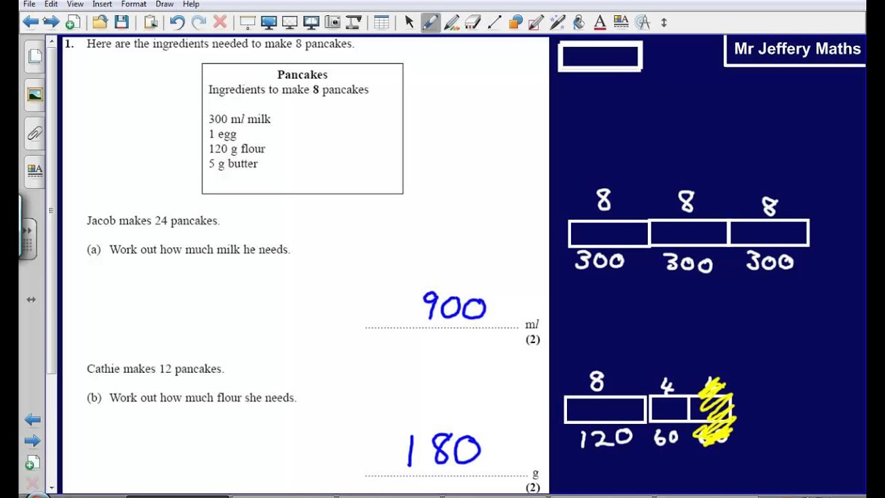 Proportion (recipes) - Question 1 Edexcel GCSE Maths 2008 Non ...
