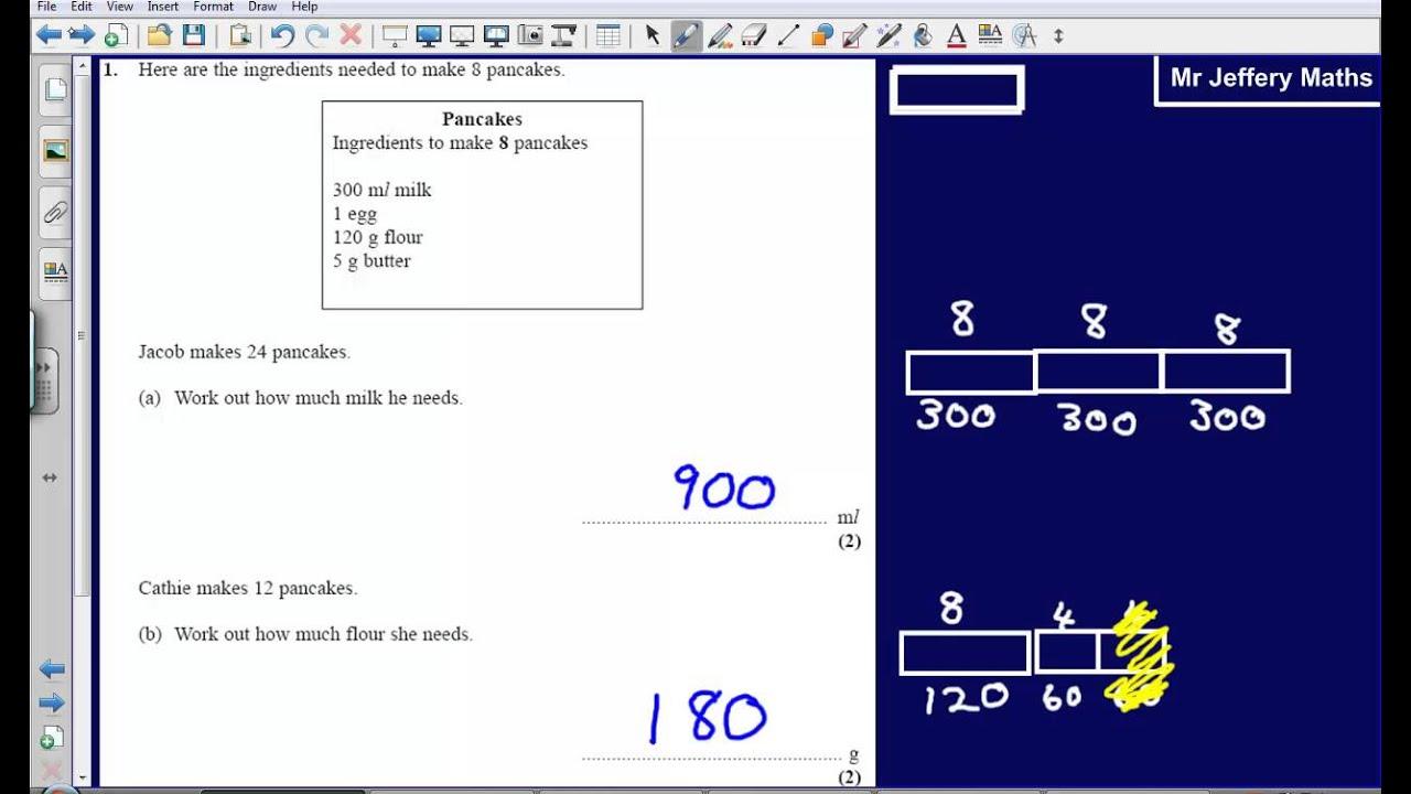 Proportion (recipes) - Question 1 Edexcel GCSE Maths 2008 Non ...