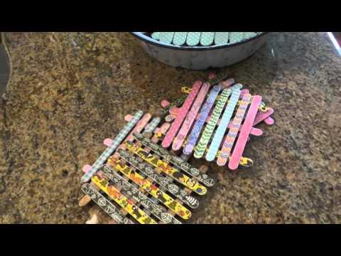Dollar Tree Craft: Washi Popsicle Sticks Coasters