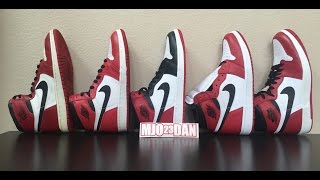 OG x 1994 x Black Toe x Chicago x 1.5 Air Jordan Comparison