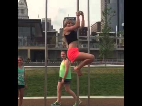 Pole climbing masturbation
