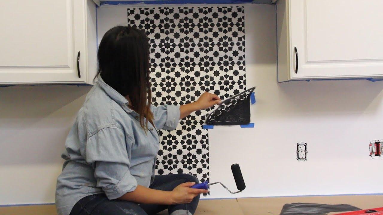 How To Stencil Your Kitchen Tile Backsplash Youtube