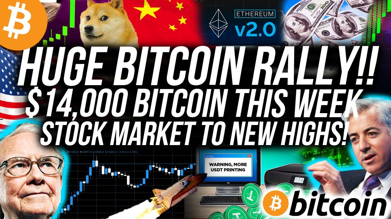 HUGE BITCOIN RALLY TO $14k THIS WEEK! Stock Market PUSHING BITCOIN UP! Ethereum $600!! Crypto News
